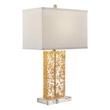 View Product - Table Lamp, Gold Leaf/clear/white Fabric Shade, E27 A 100w