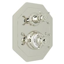 Edwardian Octagonal Concealed Thermostatic Trim with Volume Control - Polished Nickel with Cross Handle