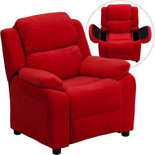 Deluxe Padded Contemporary Red Microfiber Kids Recliner with Storage Arms