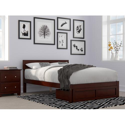 Atlantic Furniture - Boston Full Bed with Foot Drawer in Walnut