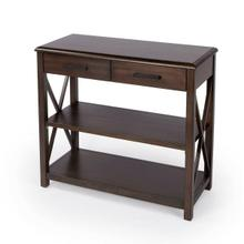 """See Details - Infusing classic design elements like its """"X """" side panels with a modern dark coffee finish, this distinctive console table is an attractive addition in the living room, entryway, or office. Two shelves provide the ideal place for storing books and magazines with enough space to display cherished photos on top. Expertly crafted from mahogany, rubberwood solids, and engineered wood products, it features two storage smooth-opening drawers with black finished pulls."""