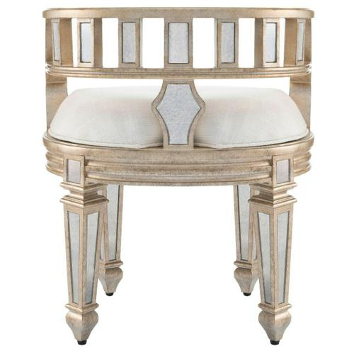 Butler Specialty Company - This mirrored vanity stool is crafted of Birch Wood solids and trimmed in antique pewter. The Demilune shape and the upholstered, tufted seat lend style and sophistication to this beauty!