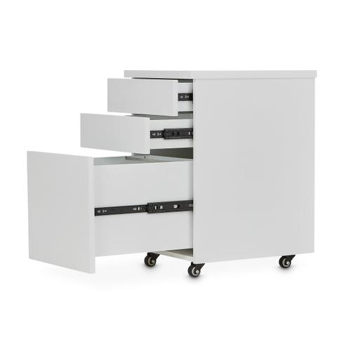File Cabinet W/casters Glossy White