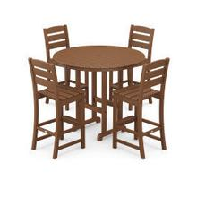 View Product - Lakeside 5-Piece Round Bar Side Chair Set in Teak