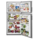 Maytag 30-Inch Wide Top Freezer Refrigerator with PowerCold® Feature- 18 Cu. Ft. Monochromatic Stainless Steel