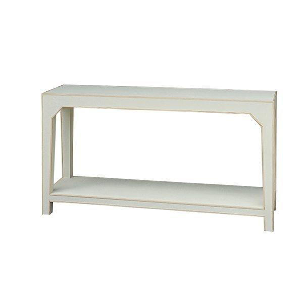 Two Tier Cream Faux Shagreen Console With White Resin Edging