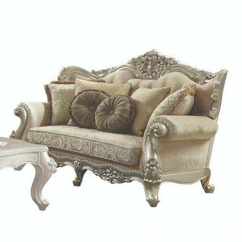 ACME Bently Loveseat w/5 Pillows - 50661 - Fabric & Champagne