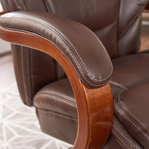 Gallery - Delano Big & Tall Executive Office Chair, Chestnut Brown with Mahogany Wood