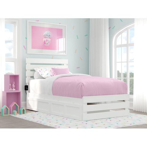 Atlantic Furniture - Oxford Twin Bed with Footboard and USB Turbo Charger with 2 Drawers in White