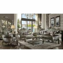 ACME Versailles Loveseat w/4 Pillows - 56821 - Silver PU & Antique Platinum