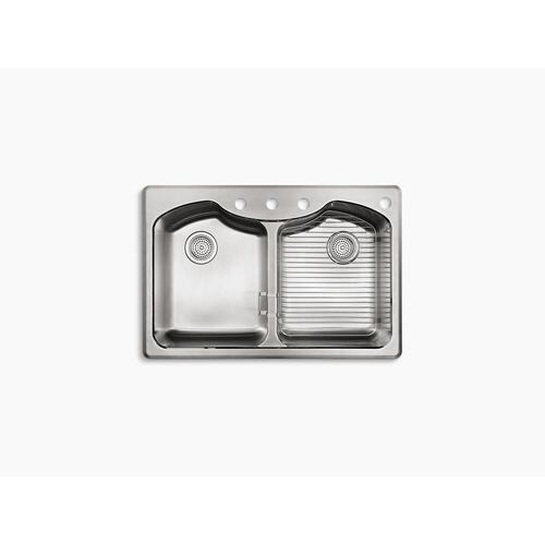 "33"" X 22"" X 9-5/16"" Dual-mount Double-equal Stainless Steel Kitchen Sink With Four Faucet Holes"