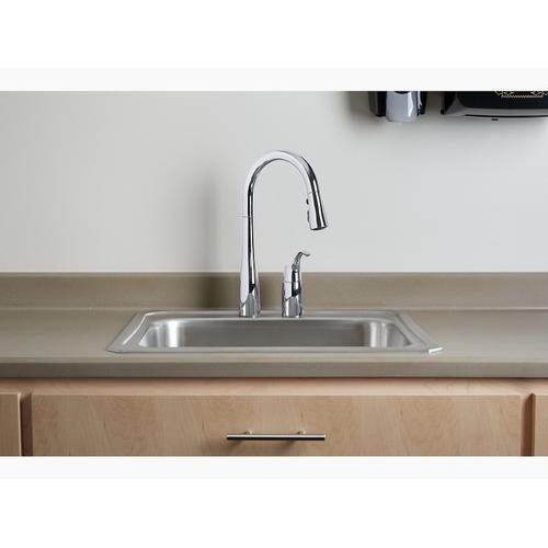 """Matte Black Two-hole Kitchen Sink Faucet With 16-1/8"""" Pull-down Swing Spout, Docknetik Magnetic Docking System, and A 3-function Sprayhead Featuring Sweep Spray"""