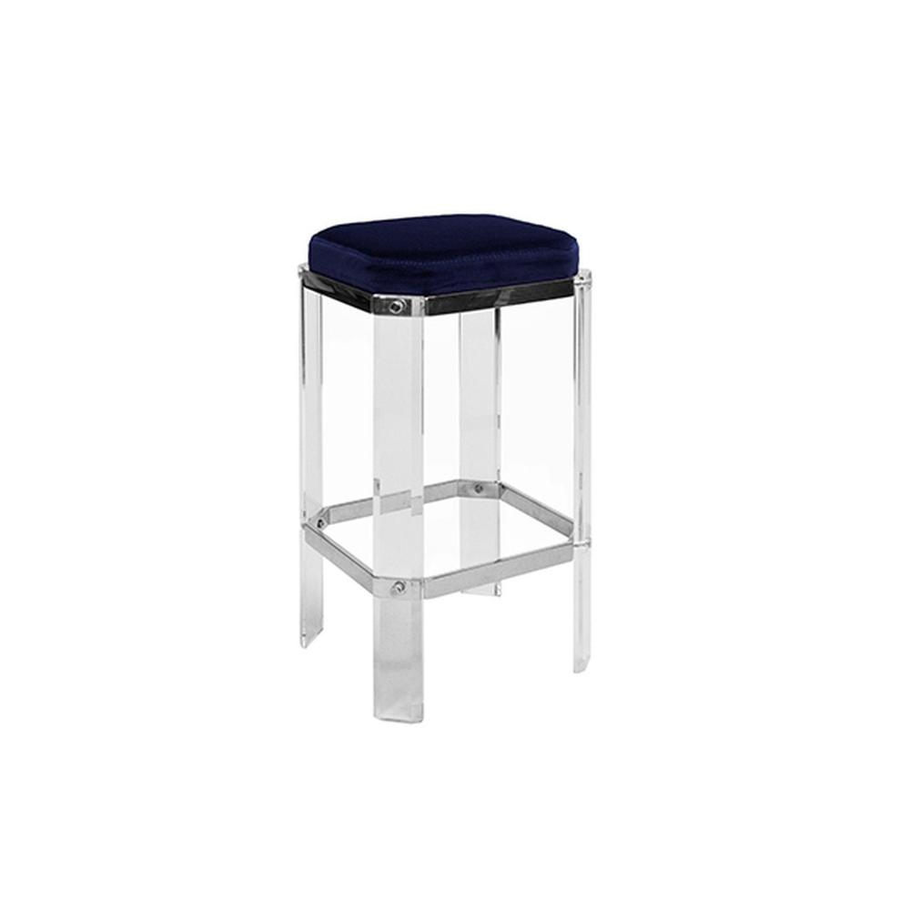With A Nod To Hollywood's Golden Age, Our Opulent Dorsey Counter Stool Will Channel Your Inner Celebrity. Faceted Lucite Legs Are Studded With Polished Nickel Accents, and Its Luxurious Navy Velvet Cushion Finishes This Glamour Shot.