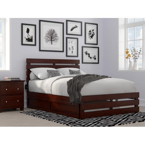 Oxford Full Bed with Footboard and USB Turbo Charger with Twin Trundle in Walnut