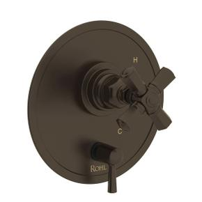 San Giovanni Pressure Balance Trim with Diverter - Tuscan Brass with Cross Handle