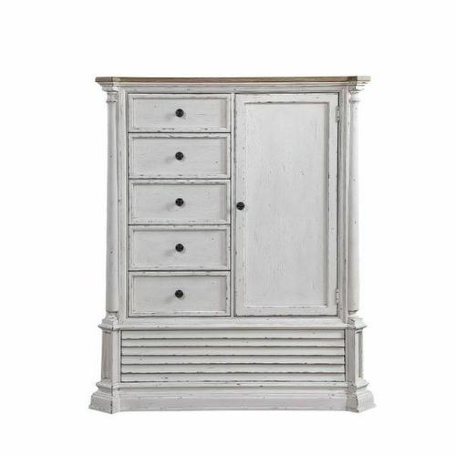 ACME York Shire Armoire - 28278 - Country-Cottage, Provincial - Wood (Poplar), Wood Veneer (Hickory), MDF, PB, Ply - Antique White and Dark Charcoal
