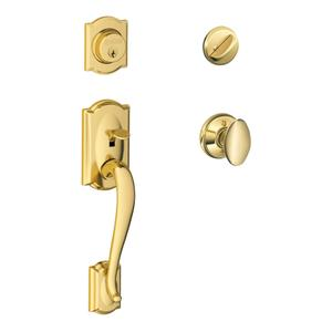 Camelot Single Cylinder Handleset and Siena Knob - Bright Brass Product Image