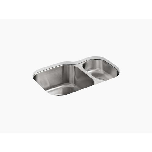"30-3/4"" X 20-1/8"" X 9-5/8"" Undermount High/low Double Kitchen Sink"