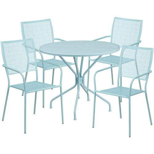 35.25'' Round Sky Blue Indoor-Outdoor Steel Patio Table Set with 4 Square Back Chairs
