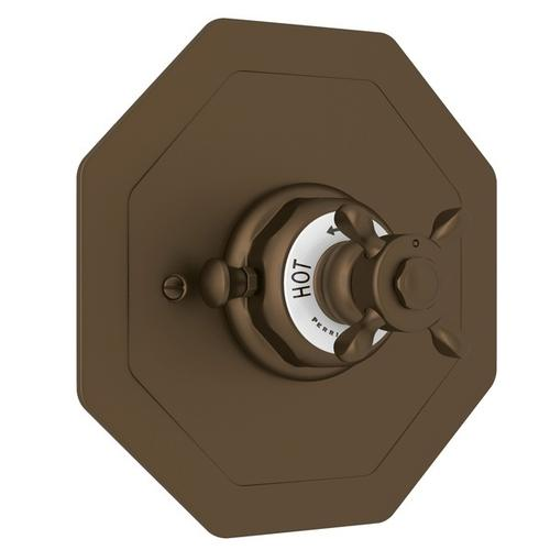 English Bronze Perrin & Rowe Edwardian Octagonal Concealed Thermostatic Trim Without Volume Control with Edwardian Cross Handle