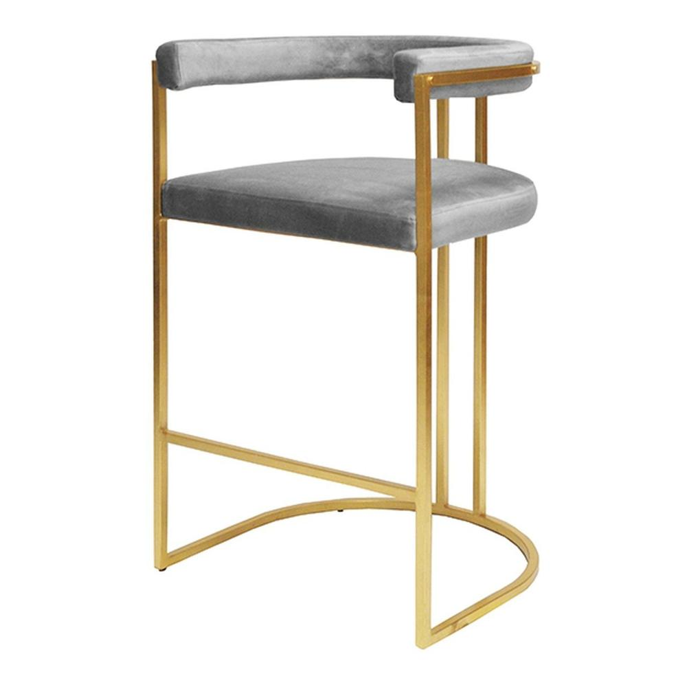 Airy, Refined, and Reminiscent of Old Hollywood, the Donovanl Barrel Back Barstool Delivers A Shot of Modern Glam To Your Kitchen Island. Luxurious Dove Grey Velvet Upholstery Rests Gently On A Hand-finished Gold Leaf Frame.