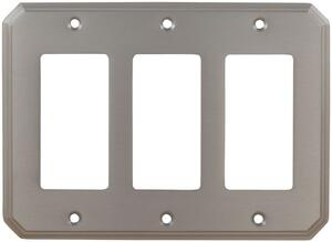 Triple Rocker Traditional Switchplate in (US15 Satin Nickel Plated, Lacquered) Product Image