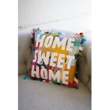 See Details - home sweet home kantha pillow with tassels