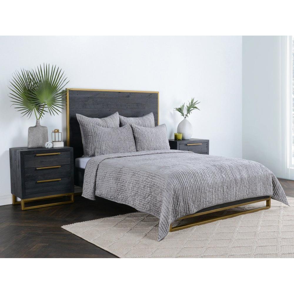 See Details - Bari Velvet Gray 4Pc King Quilt Set