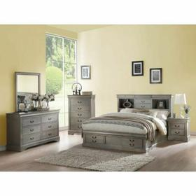 ACME Louis Philippe III Eastern King Bed w/Storage - 24357EK - Antique Gray