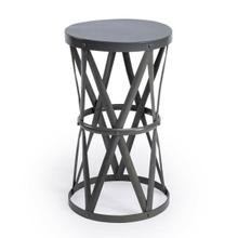 View Product - Add eye-catching appeal to your home library or living room with this industrial-inspired End Table, showcasing an openwork hour glass shaped metal base with rivet details.