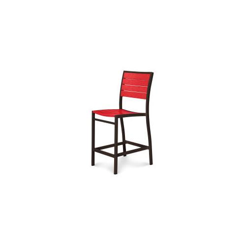 Polywood Furnishings - Eurou2122 Counter Side Chair in Textured Bronze / Sunset Red