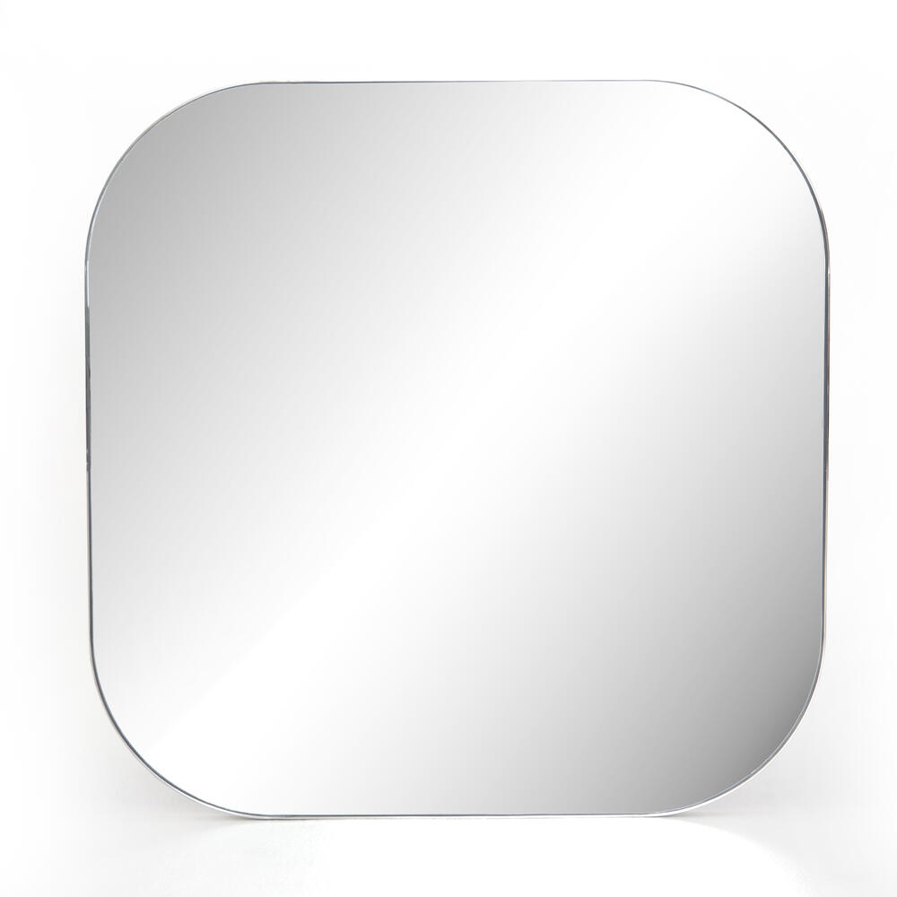 Large Size Shiny Steel Finish Bellvue Square Mirror