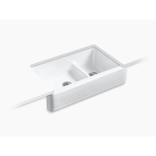 "White 35-11/16"" X 21-9/16"" X 9-5/8"" Smart Divide Undermount Double-bowl Large/medium Farmhouse Kitchen Sink"