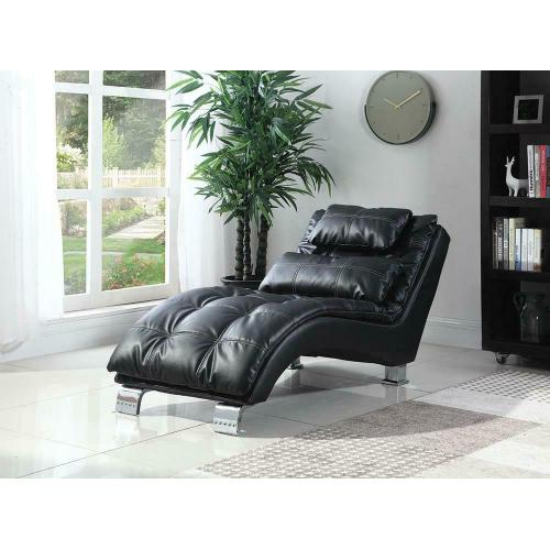 Contemporary Black Faux Leather Chaise