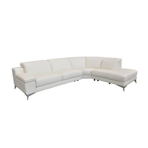 VIG Furniture - Estro Salotti Hypnose - Italian Modern White Leather Sectional Sofa with Recliner
