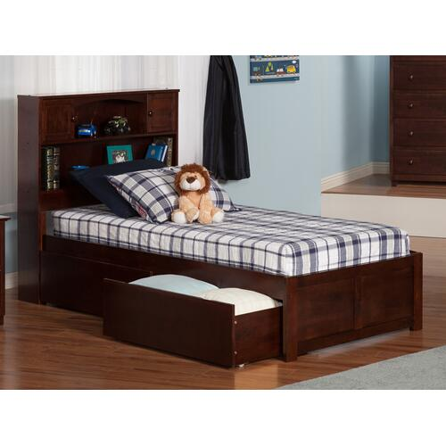 Newport Twin XL Flat Panel Foot Board with 2 Urban Bed Drawers Walnut