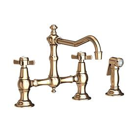 French Gold - PVD Kitchen Bridge Faucet with Side Spray