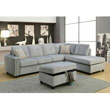 ACME Belville Sectional Sofa w/Pillows (Reversible) - 52710 - Gray Velvet