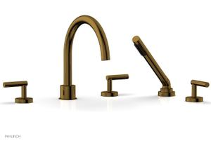 TRANSITION - Deck Tub Set with Hand Shower - Lever Handles 120-49 - French Brass Product Image