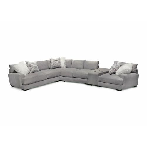 Antonia Ottoman in Bison Light Gray Leather