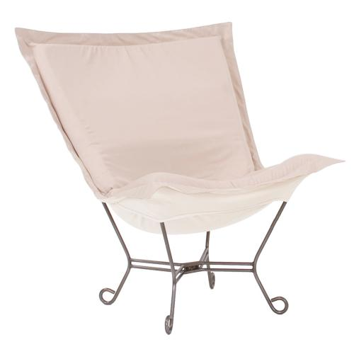 Scroll Puff Chair Seascape Sand Titanium Frame