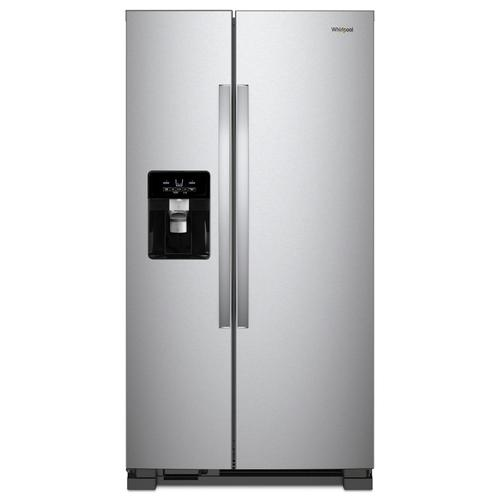 Whirlpool - 33-inch Wide Side-by-Side Refrigerator - 21 cu. ft. Monochromatic Stainless Steel