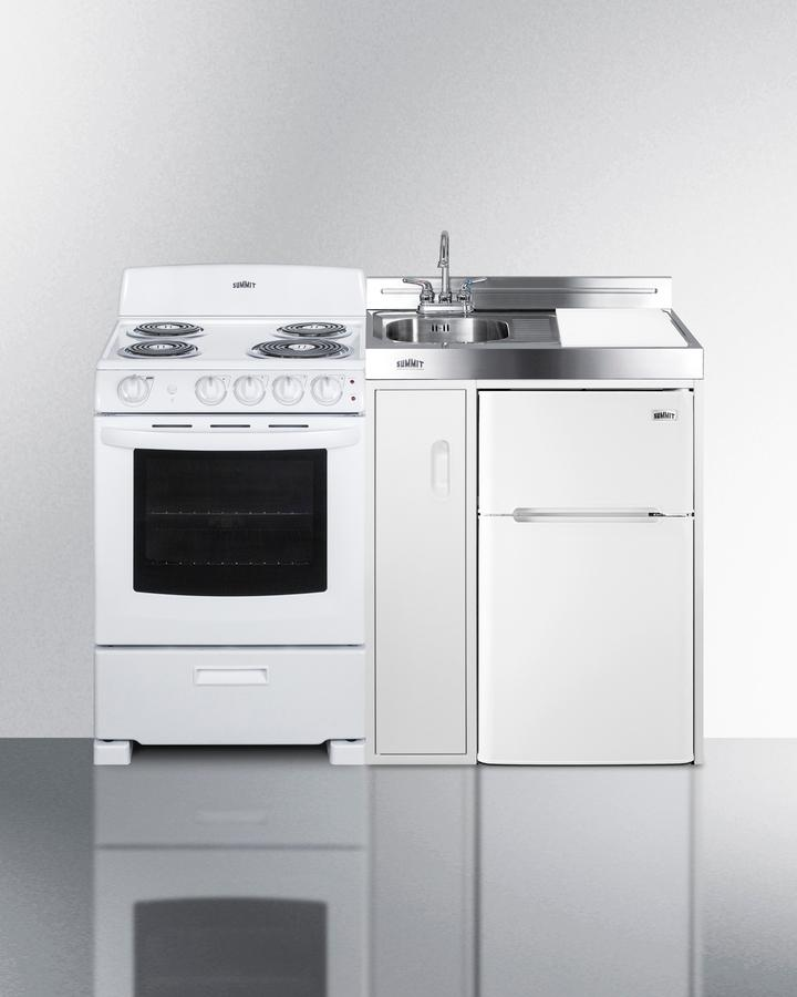 """Summit54"""" Wide All-In-One Kitchenette With Electric Coil Range"""