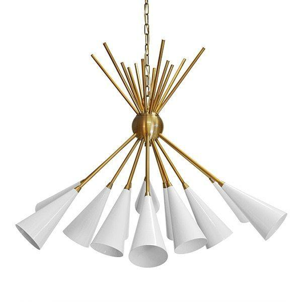 Twelve Matte White Flutes Cluster Brilliantly In This Stunning Chandelier - A Perfect Centerpiece for Your Dining Room or Living Area. Finished In Antique Brass With 6' of Coordinating Chain and Canopy for Your Custom Installation.