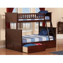 Nantucket Bunk Bed Twin over Full with Urban Bed Drawers in Walnut