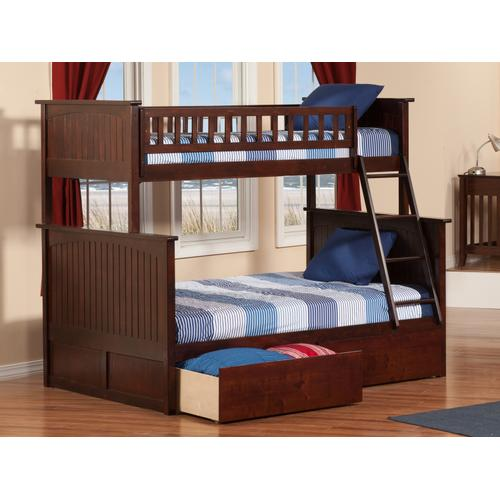 Atlantic Furniture - Nantucket Bunk Bed Twin over Full with Urban Bed Drawers in Walnut