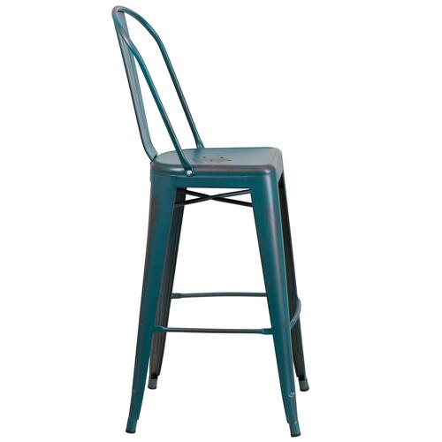 30'' High Distressed Kelly Blue-Teal Metal Indoor-Outdoor Barstool with Back