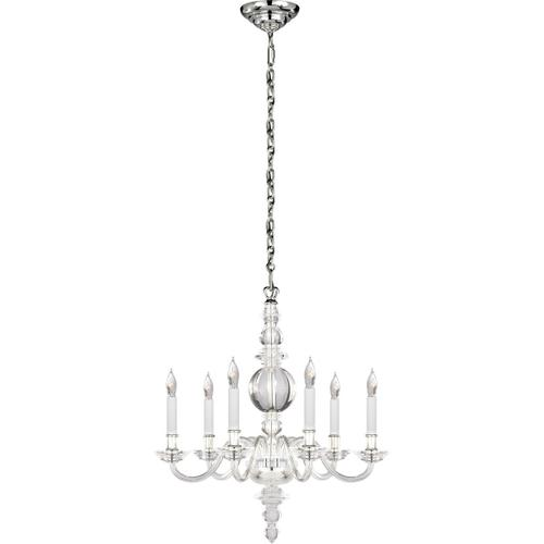 Visual Comfort - E. F. Chapman George Ii 6 Light 22 inch Polished Nickel Chandelier Ceiling Light in Crystal, Polished Silver