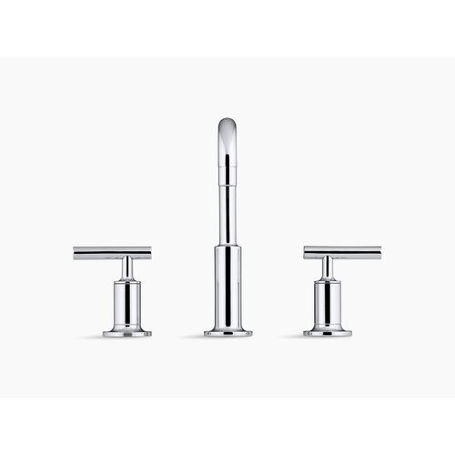 Vibrant Brushed Moderne Brass Widespread Bathroom Sink Faucet With Low Lever Handles and Low Gooseneck Spout