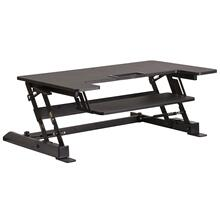 36.25''W Black Sit / Stand Height Adjustable Desk with Height Lock Feature and Keyboard Tray